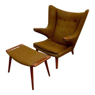 Hans Wegner Papa Bear Lounge Chair and Ottoman For Sale