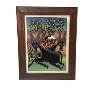Vintage Antelope Painting Tanzanian Original Oil Painting on Canvas For Sale