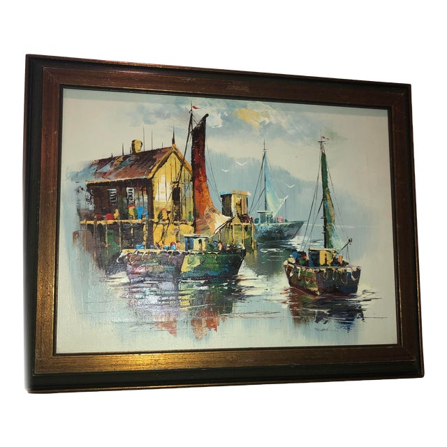 Peaceful Mid Century Painting of Sailboats For Sale