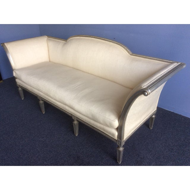 Silvered Hollywood Regency Style Sofa For Sale In San Antonio - Image 6 of 11