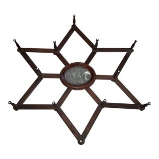 Antique Victorian 6-Point Star Form 12-Peg Accordion Hat Rack + Mirror