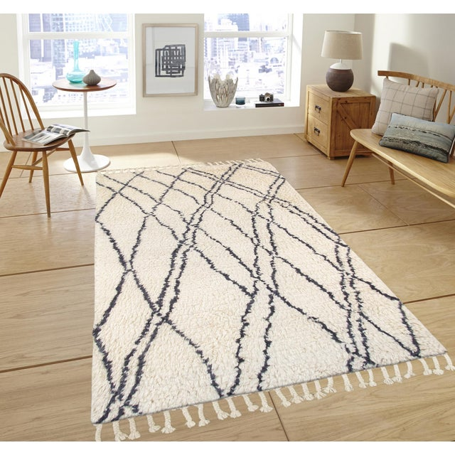 Moroccan Shag Style Wool Area Rug - 5' X 8' - Image 4 of 4