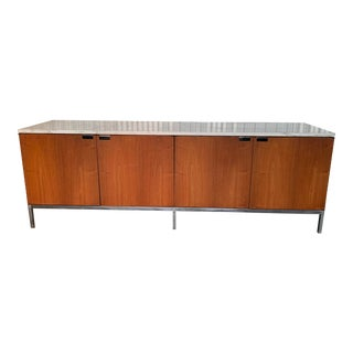 Knoll Walnut Case With Marble Top Credenza For Sale