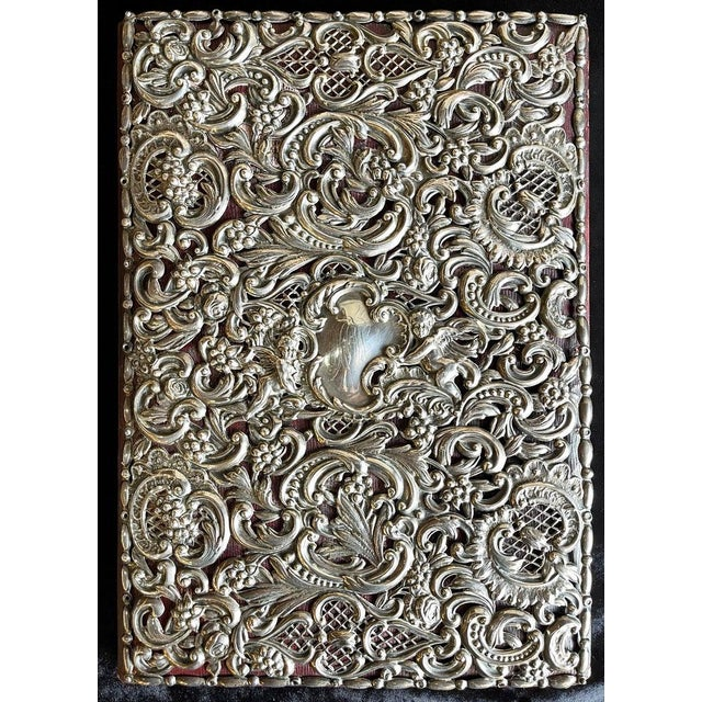Victorian Ornate Sterling Silver Book Cover Photo Scrap Album W Red Leather Interior For Sale - Image 3 of 13