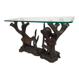 Vintage Bronze and Glass Top Console Table For Sale