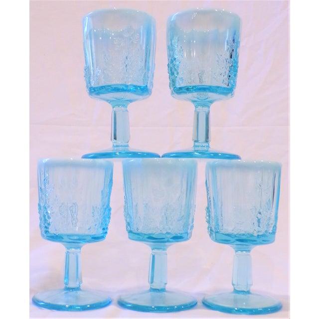 Baby Blue Vintage Opaline Tiffany Blue Wine Glasses - Set of 5 For Sale - Image 8 of 9