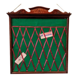 Victorian / Edwardian England Neoclassical Mahogany Wood, Felt, and Ribbon Telegrams and Notices Board For Sale