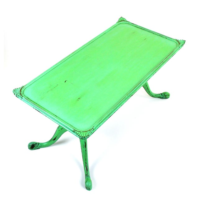Vintage Georgian Style Green Painted Coffee Table For Sale In Miami - Image 6 of 7
