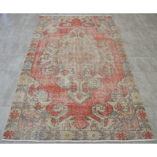 "Rug 4x8 Turkish Rug With Great Pops of Red, Vintage Hand Knotted Distressed Low Pile Runner,Romantic Shabby Chic Entry Oushak Rug 4'3""x7'5"" For Sale - Image 4 of 7"