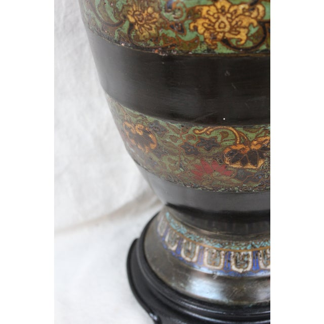 Large Champleve Enameled Urn Lamp - Image 5 of 7