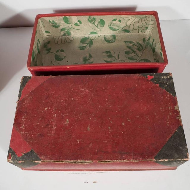 Two Korean Antique Dowery Boxes in Brown Rattan and Red Papier-Mâché For Sale - Image 4 of 11