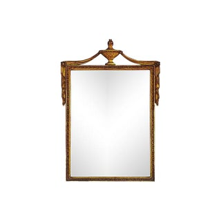 Ornate 1930s Gold Gilt Mirror With Urn and Draping Details