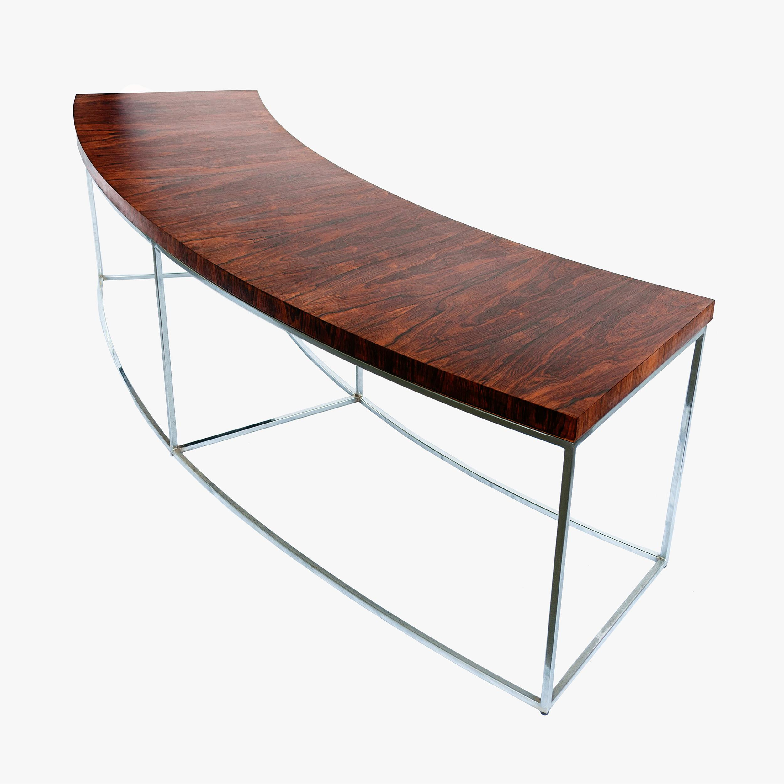 Authentic Rosewood And Chrome Curved Sofa Table Designed By Milo Baughman  For Thayer Coggin. The