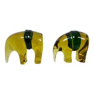 Luciano Gaspari for Salviati Murano Glass Elephants - a Pair For Sale