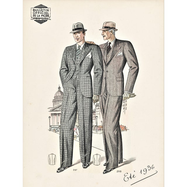 Matted French Art Deco Men's Fashion Tailoring Lithograph For Sale