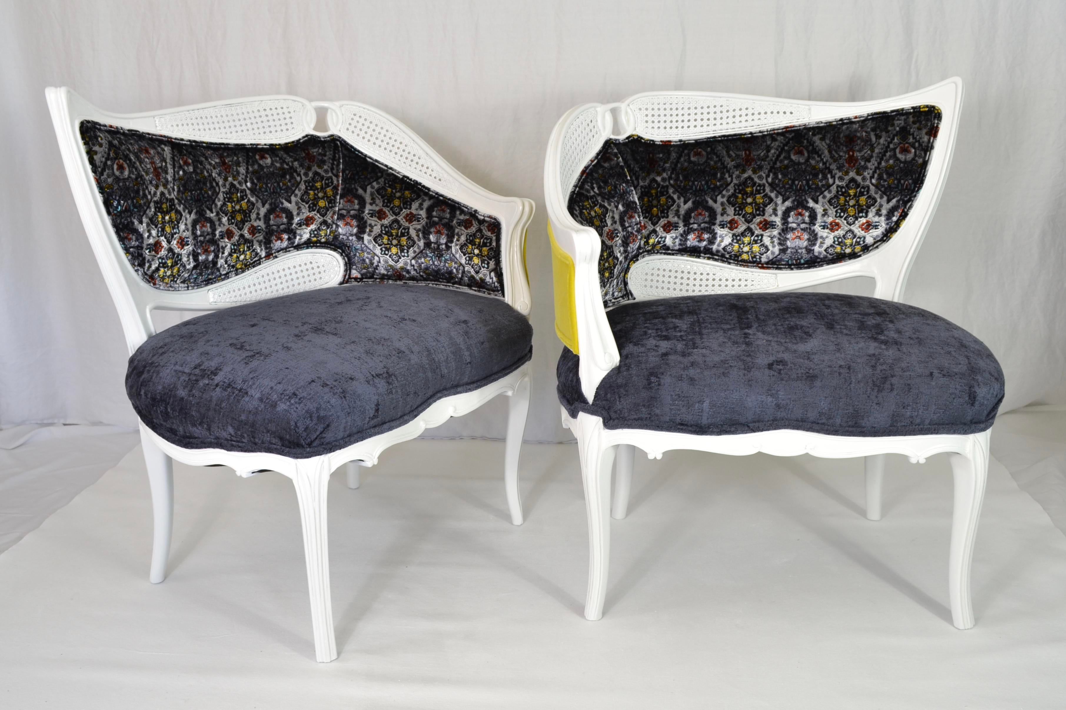 Asymmetrical Hollywood Regency Cocktail Chairs   A Pair For Sale   Image 4  Of 9