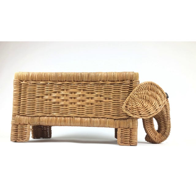 1970s Vintage Wicker Elephant Planter For Sale - Image 4 of 12