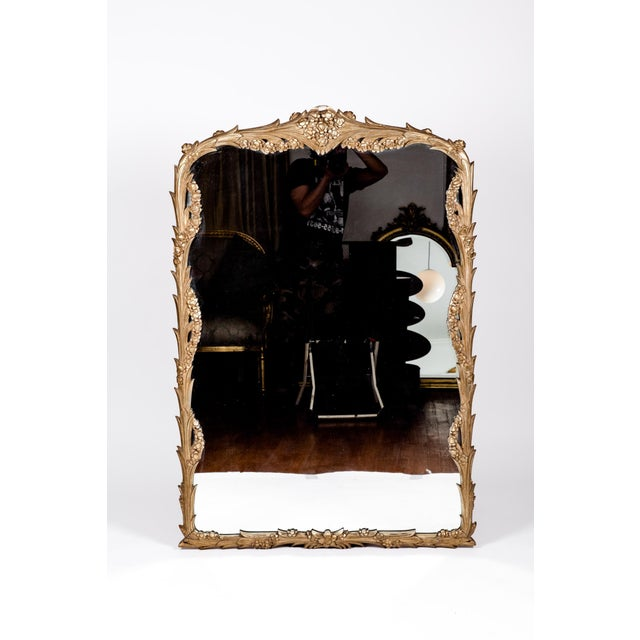 Giltwood frame mantel / fire place hanging wall mirror. The hanging wall mirror is in excellent vintage condition. Minor...