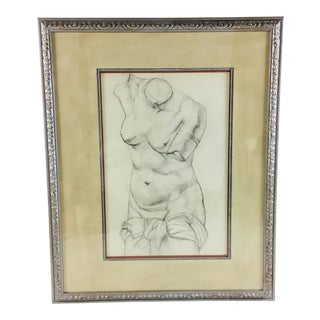 Academy Style Charcoal on Paper Nude Study, 1951 For Sale