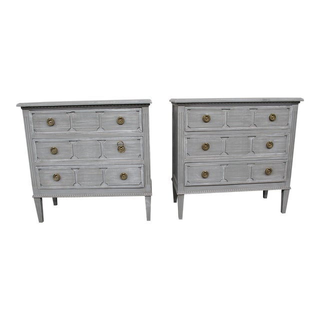 20th Century Vintage Swedish Gustavian Style Nightstands - a Pair For Sale