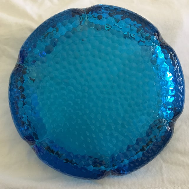 Aqua Blue Pebbled Art Glass Flower Ashtray For Sale In Los Angeles - Image 6 of 11