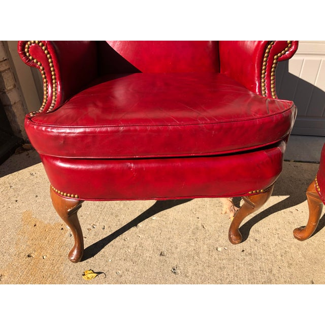 Traditional Late 20th Century North Hickory Co Traditional Leather Wingback Chair & Ottoman For Sale - Image 3 of 9