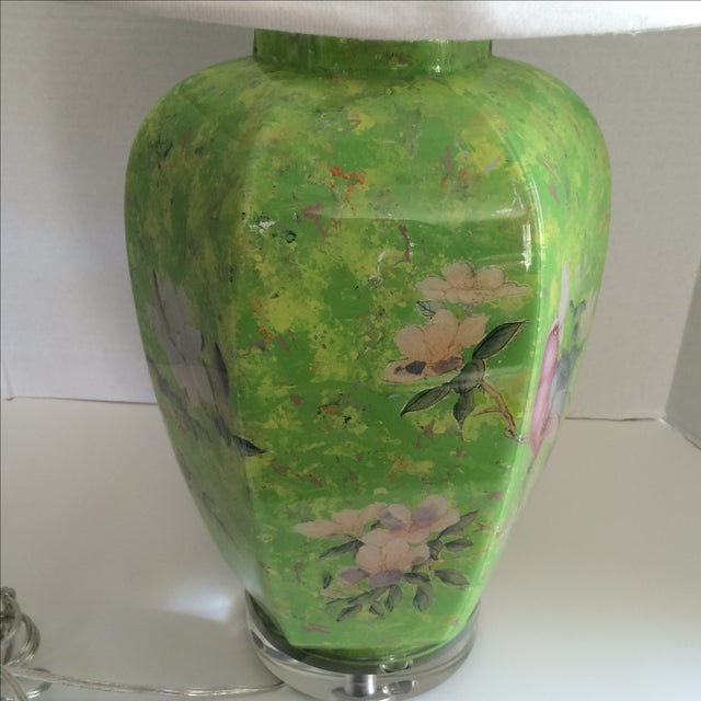 Reverse Painted Decoupage Lamp On Lucite Base For Sale In New York - Image 6 of 9
