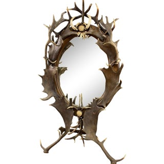 Black Forest Antler Standing Mirror, Germany Ca. 1890 For Sale