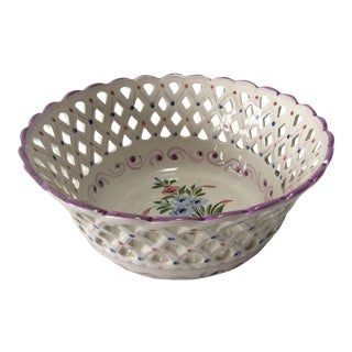 Floral Porcelain Basketweave Bowl