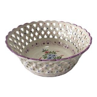 Floral Porcelain Basketweave Bowl For Sale