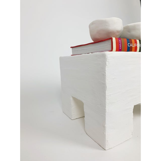 Mid-Century Modern The Flynn Raw Plaster Footstool For Sale - Image 3 of 6