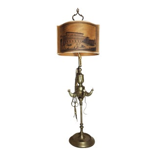 19th Century Italian Brass Lucerne Whale Oil Lantern Electrified Table Lamp For Sale