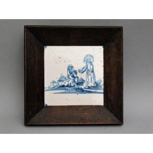 17th-C Dutch Delft Biblical Tile For Sale - Image 5 of 5