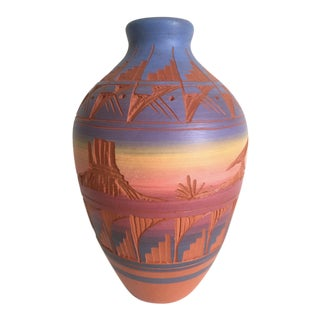Vintage Navajo Signed Purple Pink Mesa Terra Cotta Pottery Vase For Sale