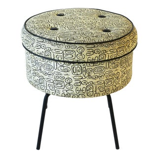 Retro Stool With Storage in Black and White For Sale