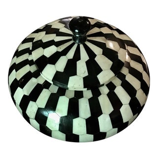 Maitland-Smith Black and White Geometric Shell Covered Box For Sale