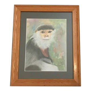 Monkey With Beard / Wildlife Watercolor and Crayon MIX Media Painting - Signed Ruth Warner 2007 For Sale