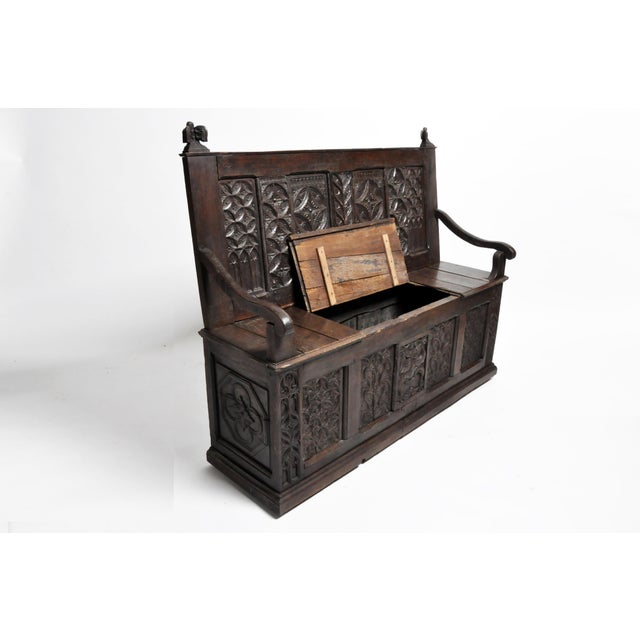 17th Century French Gothic Oak Hall Bench For Sale - Image 12 of 13