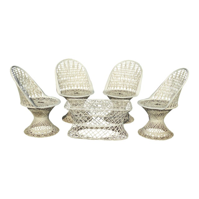 Four Spun Fiberglass White Chairs & Coffee Table by Russell Woodard Patio Set - Image 1 of 11