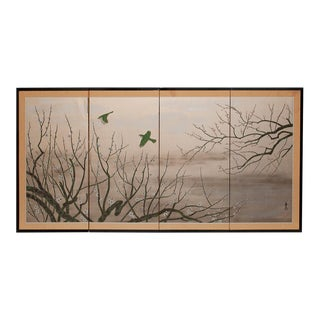 Japanese Shōwa Era Gold Leaf and Silk Green Birds and Sakura Byobu Screen For Sale