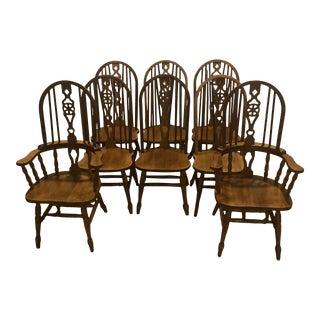 Vintage Oak Wheel Back Windsor Dining Chairs - Set of 8 For Sale