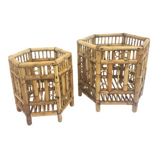 Bamboo Polygon Plant Stands - A Pair For Sale