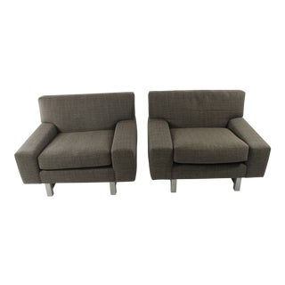 Large Mid-Century Modern Lounge Chairs - A Pair