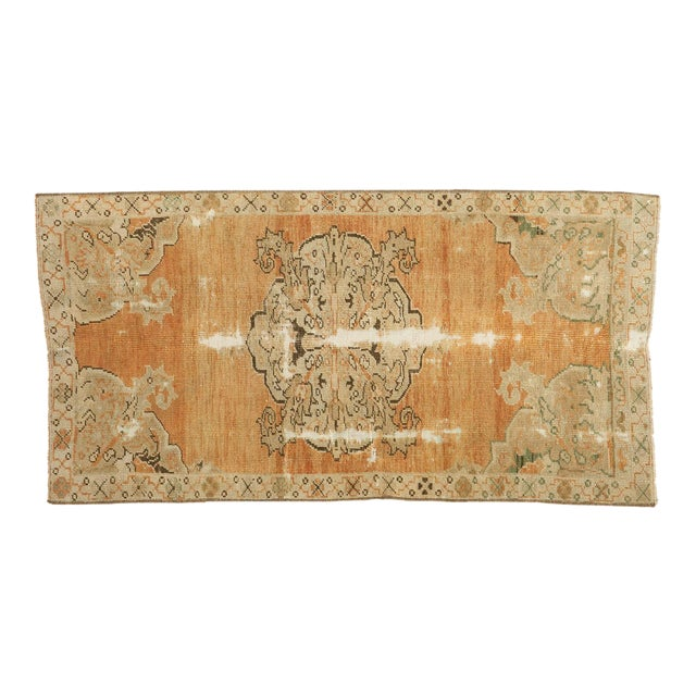 "Vintage Distressed Oushak Rug - 2'1"" x 4' - Image 1 of 9"