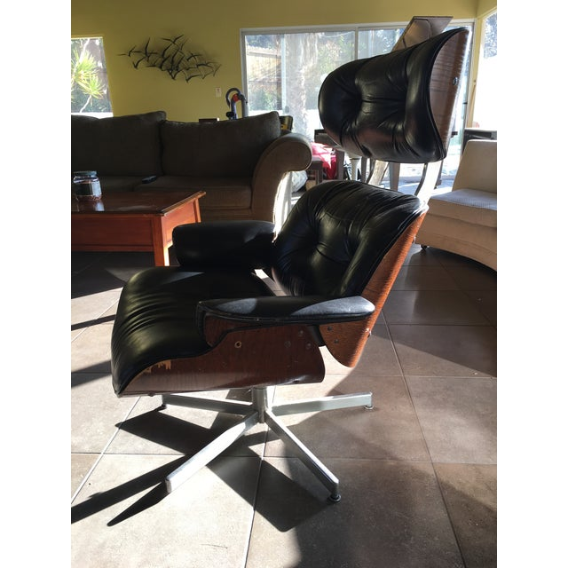 Eames-Style Black Lounge Chair - Image 4 of 4