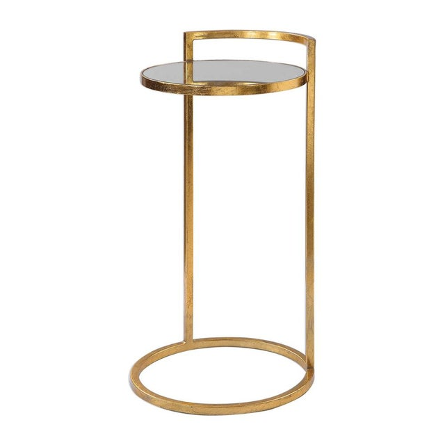 Hollywood Regency Regency Round Gold Drink Table For Sale - Image 3 of 5