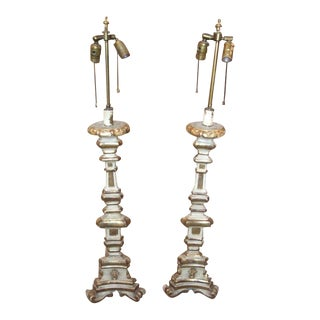 Pair of Early 19th Century Paint and Gilt Candlestick Lamps For Sale