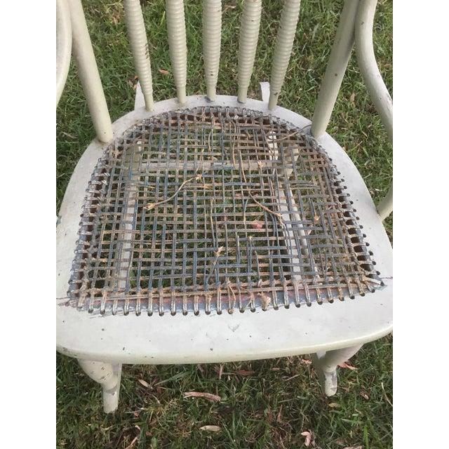 Wicker Vintage Boho Light Green Wicker Rocking Chair Rocker For Sale - Image 7 of 9
