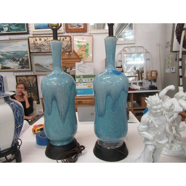 Mid-Century Modern Robin Egg Blue Glazed Lamps - A Pair - Image 2 of 10