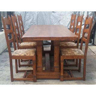 Plank Monastery Oak Refectory Dining Table and Chairs-Set of 7 Preview